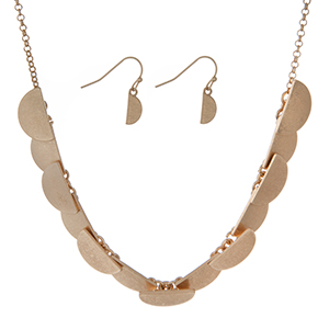 """Burnished gold tone necklace set featuring half circles and matching earrings. Approximately 16"""" in length."""