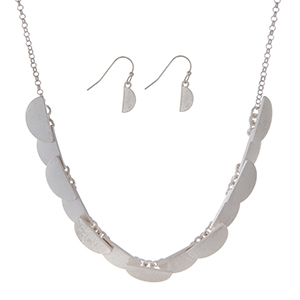"""Burnished silver tone necklace set featuring half circles and matching earrings. Approximately 16"""" in length."""