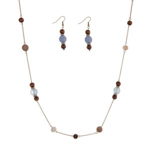 """Gold tone necklace set with wooden beads accented with gray and ivory stationary beads. Approximately 44"""" in length."""