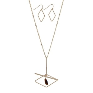 """Gold tone necklace set a diamond shaped pendant and tiger's eye stone. Approximately 32"""" in length."""