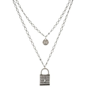 "Silver tone double layer necklace with a pave lock pendant. Approximately 24"" in length."
