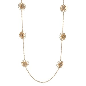 """Gold tone necklace with stationary flowers and clear rhinestones. Approximately 32"""" in length."""