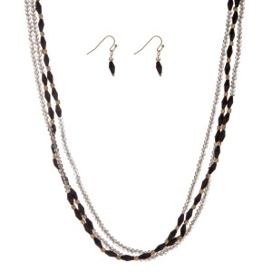 """Black and gray beaded wrap necklace set. Approximately 60"""" in length."""