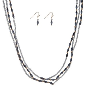 """Navy and blue beaded wrap necklace set. Approximately 60"""" in length."""