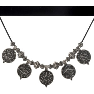 """Black velvet double layer choker necklace with hammered silver tone Aztec circles. Approximately 14"""" in length."""