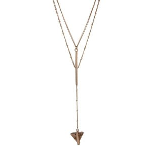 "Gold tone double layer 'Y' necklace with a picture japer natural stone triangle pendant. Approximately 20"" in length."