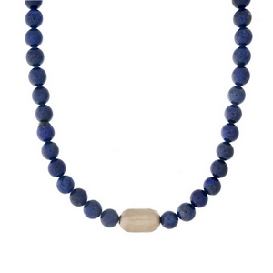 """Lapis beaded necklace with a hammered gold tone nugget. Approximately 16"""" in length."""