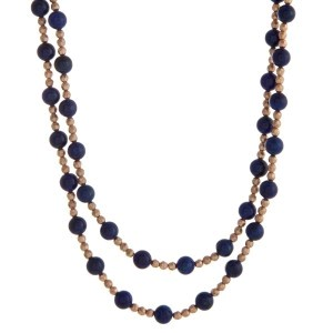 """Gold tone beaded wrap necklace with blue natural stone beads. Approximately 60"""" in length."""