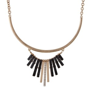 """Gold tone necklace set with black fringe. Approximately 16"""" in length."""