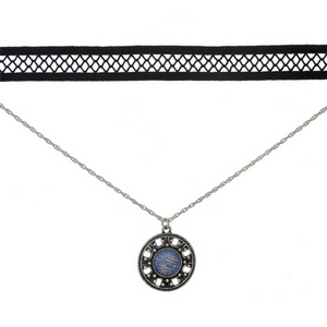 """Black and silver tone, double layer choker with a circle pendant, accented by an opal stone. Approximately 12"""" in length."""