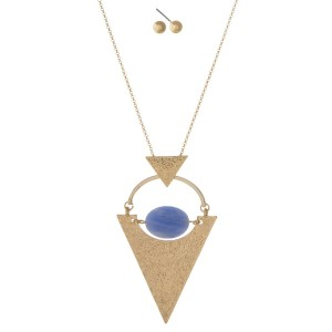 """Gold tone necklace set with a hammered triangle pendant and light blue faceted bead. Approximately 32"""" in length."""