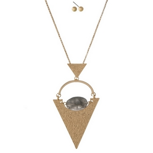 """Gold tone necklace set with a geometric pendant and gray stone. Approximately 32"""" in length."""