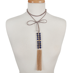 """Gray faux suede wrap choker with blue natural stone beads and gold tone chain tassels. Approximately 12"""" in length."""