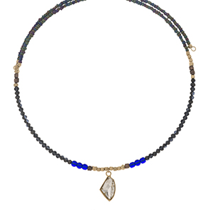 Gray and iridescent beaded memory wire choker with gold tone accents and a clear rhinestone pendant. Choker does not close, so it can fit up to almost any size.