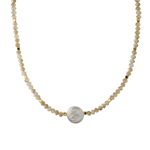 """Gold tone and ivory beaded necklace with a flat freshwater pearl focal. Approximately 14"""" in length. Handmade in the USA."""