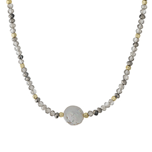 """Gold tone and gray beaded necklace with a flat freshwater pearl focal. Approximately 14"""" in length. Handmade in the USA."""