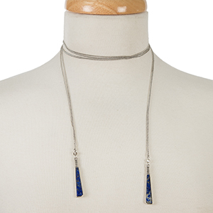"""Dainty silver tone wrap necklace with natural stones on the ends. Approximately 52"""" in length."""