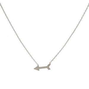 "Dainty silver tone necklace with an arrow pendant. Approximately 14"" in length."