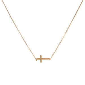 """Dainty gold tone necklace with an 8mm cross pendant. Length adjusts from 16""""-18""""."""