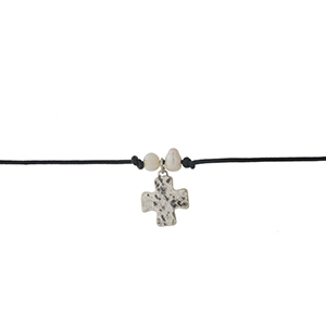 """Black faux leather cord choker with a silver cross pendant and freshwater pearls. Approximately 12"""" in length."""