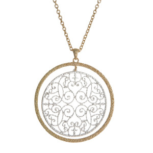"""Gold tone necklace with a two tone, filigree, circle pendant. Approximately 30"""" in length."""