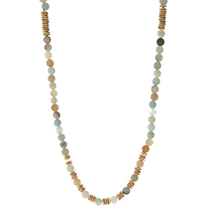 """Waxed cord necklace with amazonite natural stone beads and gold tone accents. Adjustable up to 40"""" in length. Handmade in the USA."""