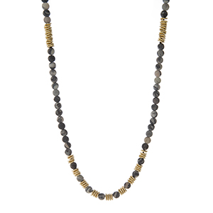 """Waxed cord necklace with gray jasper natural stone beads and gold tone accents. Adjustable up to 40"""" in length. Handmade in the USA."""