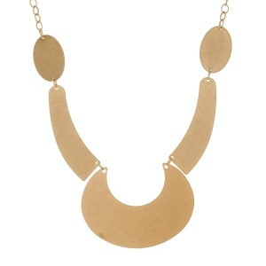 """Burnished gold tone statement necklace. Approximately 20"""" in length."""