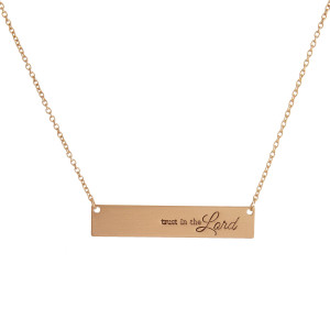 """Inspirational Bar Necklace.  - Trust in The Lord - Pendant 1.5""""  - Approximately 16"""" Long"""