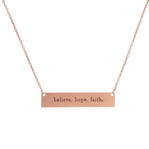 "Inspirational Bar Necklace.  - Believe Hope Faith - Pendant 1.5""  - Approximately 16"" Long"