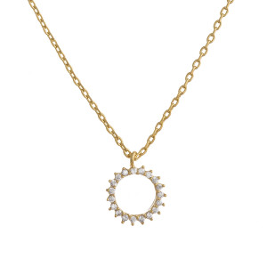 """Gold dipped rhinestone pendant necklace. Approximate 20"""" in length with .5"""" pendant."""