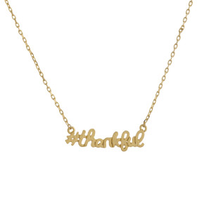 """Metal necklace with small """"#thankful"""" pendant. Approximate 18"""" in length with 1"""" pendant."""