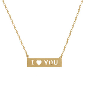 "Metal necklace with bar pendant engraved with message, ""I Love You."" Approximate 16"" in length with 1"" pendant."