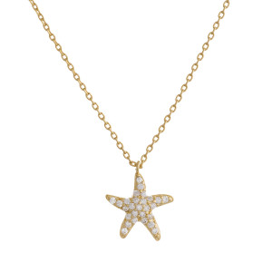 """Gold dipped necklace with small starfish pendant. Approximate 20"""" in length with .5"""" pendant."""