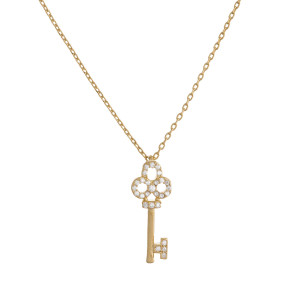 """Gold dipped necklace with small clover-shaped key pendant. Approximate 20"""" in length with .5"""" pendant."""