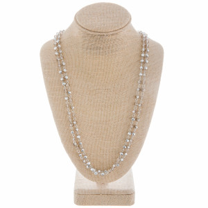 """Long beaded layered necklace. Approximate 34"""" in length."""