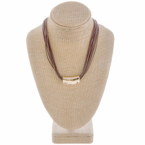 """Long layered leather rope necklace with focal. Approximate 20"""" in length."""