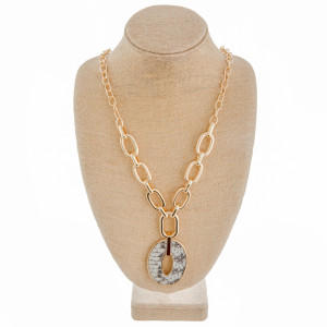 """Long chain linked Y necklace with genuine leather, grey snakeskin pendant. Approximate 34"""" in length."""