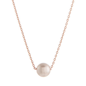 """Long metal necklace with pearl pendant. Approximate 17.5"""" in length."""