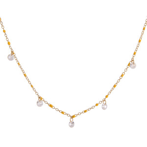 """Dainty necklace featuring enamel details with crystal accents. Approximately 16"""" in length."""