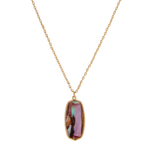 """Rolo chain necklace featuring a resin abalone pendant. Pendant approximately 1.5"""". Approximately 18"""" in length overall."""