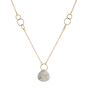 """Dainty cable chain necklace featuring a natural stone pendant. Pendant approximately 1"""". Approximately 16"""" in length overall."""