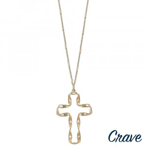 """Long link bar chain necklace featuring a twisted cross pendant. Pendant approximately 2"""" in length. Approximately 34"""" in length overall."""