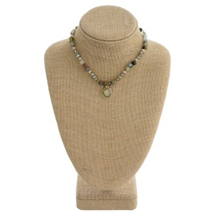 """Semi precious beaded necklace. Approximately 16"""" in length."""
