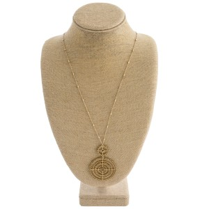 """Long link bar chain necklace featuring a wire woven seed beaded double disc pendant.   - Pendant approximately 3"""" in length - Approximately 34"""" in length overall"""