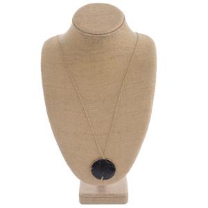 """Long semi precious stone pendant necklace. Pendant approximately 2"""" in diameter. Approximately 34"""" in length overall."""