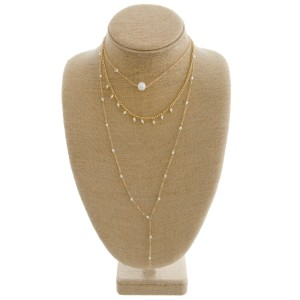 """Long layered pearl beaded necklace.   - Shortest layer approximately 12"""" in length - Approximately 32"""" in length overall with 3"""" extender"""