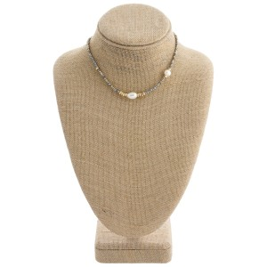 """Beaded pearl collar necklace with a 3"""" extender. Approximately 12"""" in length."""