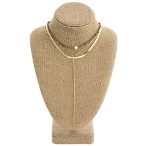 """Layered boho beaded pearl collar drop necklace. Approximately 12"""" in length with a 3"""" extender."""