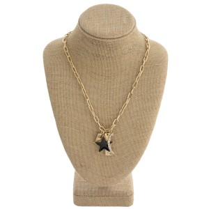 """Chain linked charm pendant necklace with rhinestone and enamel coated details. Approximately 20"""" in length."""